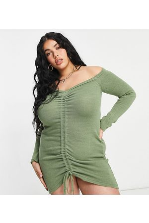 adidas Knitted ruched detail off shoulder dress in stone