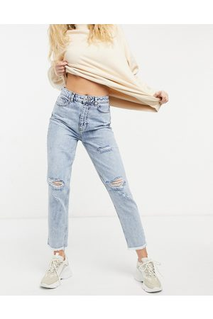 adidas Acid wash ripped mom jeans in light