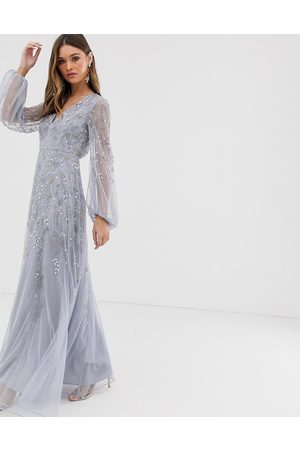 adidas Maxi dress with blouson sleeve and delicate floral embellishment