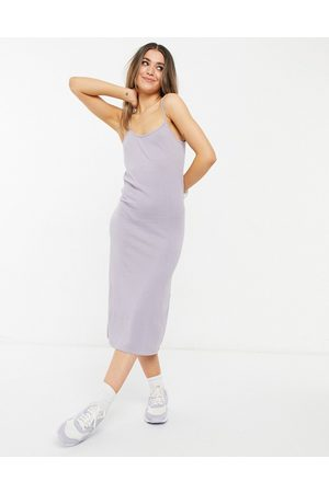 adidas Ariel knitted midi cami dress in lilac