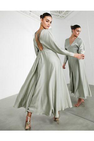 adidas Satin lattice back midi dress in sage