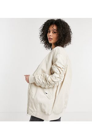 adidas Longline bomber jacket with ruched sleeves in stone