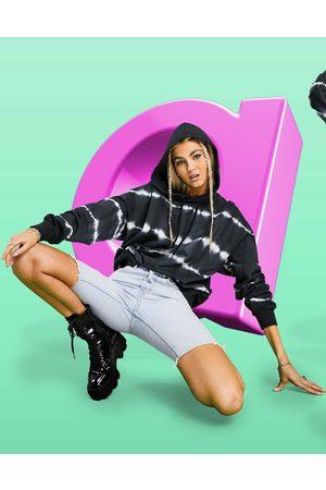 adidas Oversized hoodie in stripe mono tie dye-Multi
