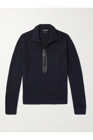 adidas Men Jumpers - Leather-Trimmed Merino Wool Half-Zip Sweater