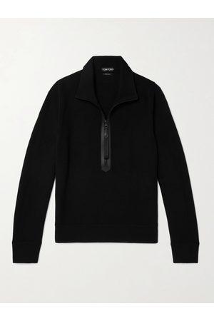 adidas Leather-Trimmed Merino Wool Half-Zip Sweater