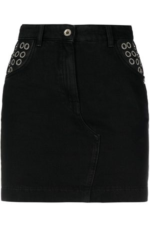 adidas Women Mini Skirts - Eyelet-embellished denim mini skirt