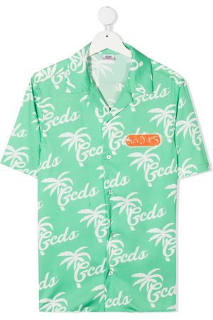 adidas TEEN logo-printed Hawaiian shirt