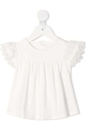 adidas Baby Blouses - Embroidered-edge ruched-detail blouse