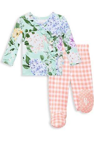 Posh Peanut Baby Shirts - Baby Girl's Erin 2-Piece Floral Kimono Shirt & Plaid Footed Jogger Set