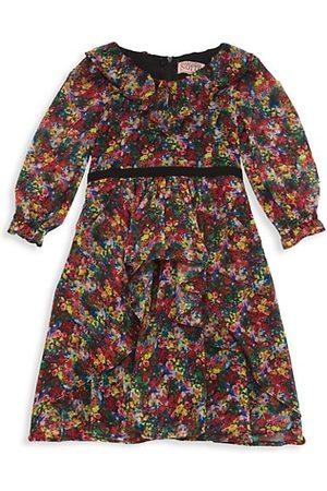 Marchesa Notte Girl's Printed Chiffon Ruffled Dress