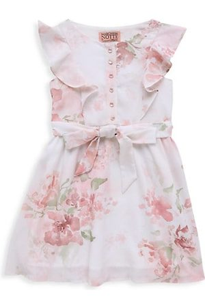 Marchesa Notte Little Girl's and Girl's Floral Crepe de Chine Button Dress