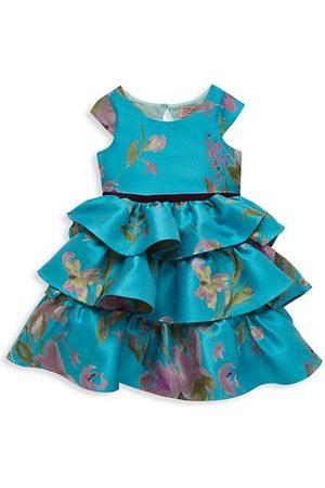 Marchesa Notte Girls Printed Dresses - Little Girl's Cap Sleeve Printed Brocade Tiered Dress