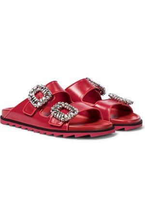 Roger Vivier Women Sandals - Slidy Viv' Strass leather slides