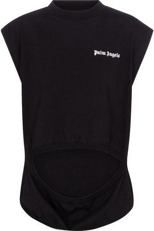 Palm Angels Women Tank Tops - Cutout cotton jersey tank top