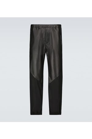 Givenchy Men Leather Pants - Leather and nylon trackpants