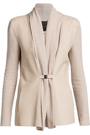 Armani Leather & Cashmere Mixed Media Cardigan