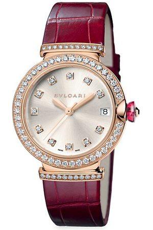 Bvlgari Watches - LVCEA 18K Rose Gold, Diamond & Alligator Strap Watch