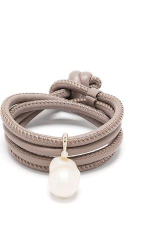 Mizuki 14kt yellow , diamond and pearl wrap bracelet