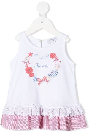 MONNALISA Logo-print ruffled-trim dress