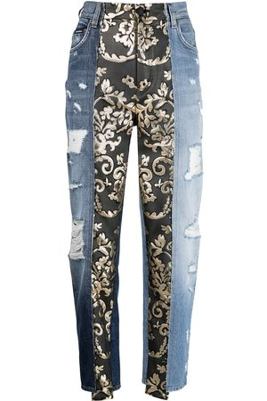 Dolce & Gabbana Baroque-panel tapered jeans