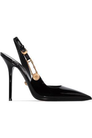 VERSACE 110mm safety-pin leather pumps