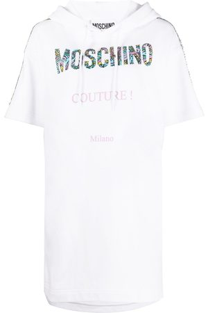 Moschino Hooded logo patch dress