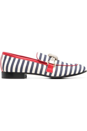 Pollini Striped sailor-knot loafers