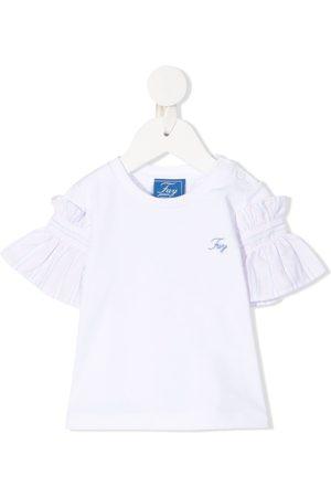 FAY KIDS Cotton frill ruffle sleeve T-shirt