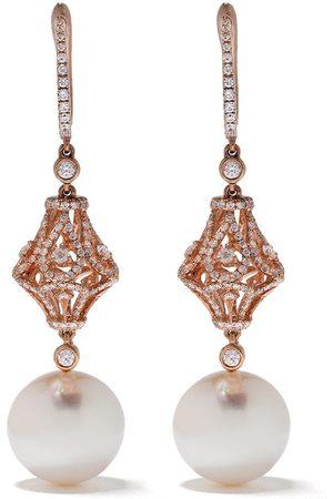 Yoko London 18kt rose gold Aurelia South Sea pearl and diamond drop earrings