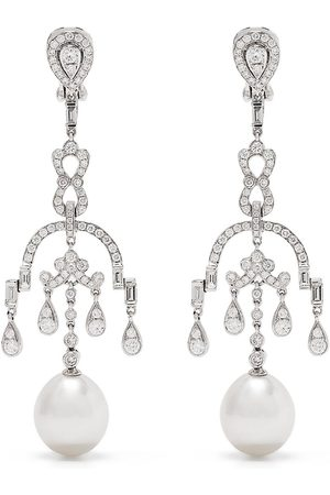 Yoko London 18kt white gold diamond pearl Mayfair drop earrings