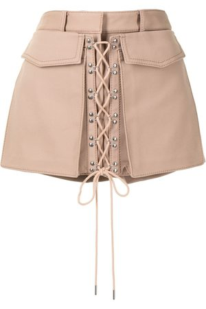 DION LEE Laced utility mini shorts