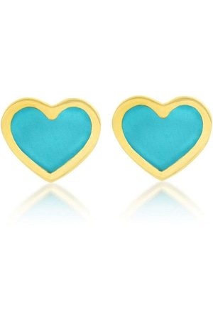 Jennifer Meyer 18kt yellow turquoise inlay XS Heart stud earrings