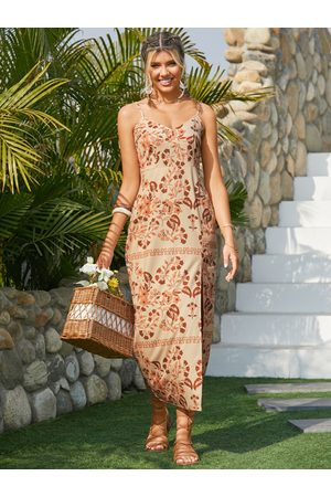YOINS Beige Tropical Slit Hem Sleeveless Maxi Dress