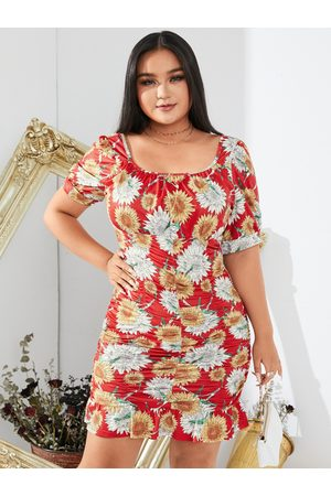YOINS Women Printed Dresses - Plus Size Square Neck Floral Print Pleated Design Mini Dress