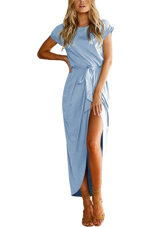 YOINS Women Maxi Dresses - Lace-up Design Round Neck Short Sleeves Slit Hem Maxi Dress