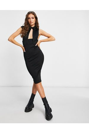 ASOS Waistcoat plunge midi pencil dress in