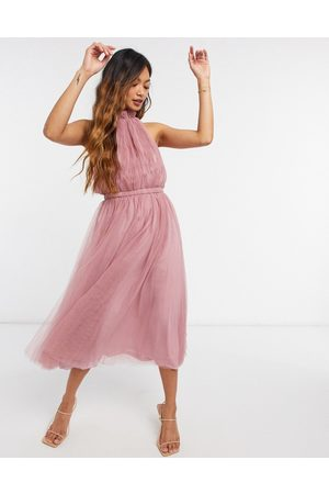 ASOS High neck tulle midi dress with side cut out detail in rose