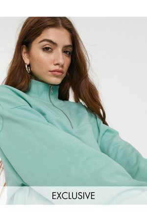 Reclaimed Vintage Inspired cropped half zip sweat with logo embroidery in mint