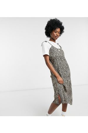 Native Youth Two in one tie shoulder midi dress in leopard plisse with t-shirt