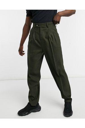 ASOS Men Chinos - High waist slim wool mix smart trouser in tonal check