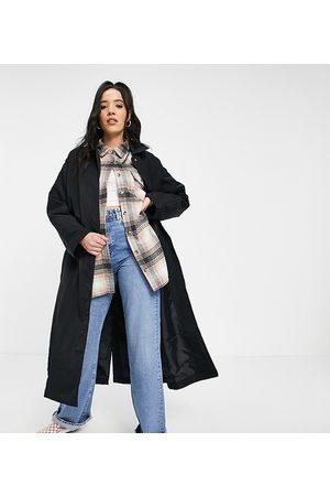 ASOS Tall nylon tech trench coat in black