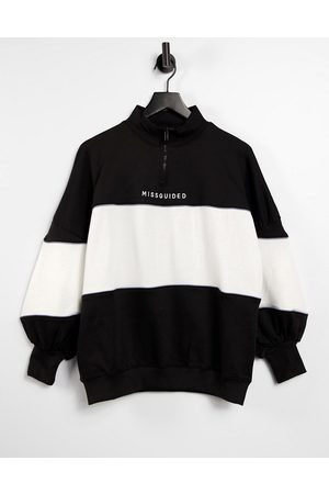 Missguided Oversized sweatshirt with zip in colour block-Multi