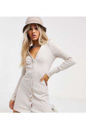 COLLUSION Women Casual Dresses - Rib button through mini dress in oatmeal marl