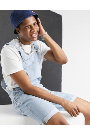 ASOS Relaxed denim dungaree shorts in light stone wash