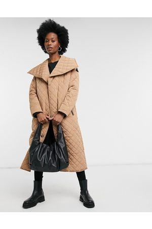 River Island Fallaway quilted coat in cream