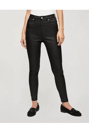 Miss Selfridge Lizzie coated high waist skinny jeans in