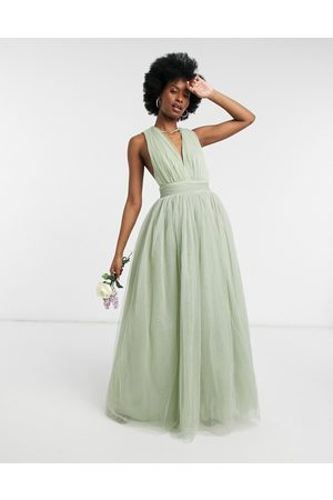 ASOS Tulle plunge maxi dress dress with bow back detail in sage