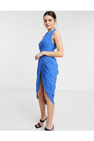 ASOS Women Halterneck Dresses - Halter ruched midi dress with waist detail and drape skirt