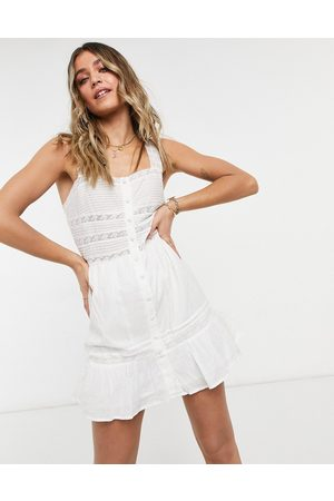 ASOS DESIGN Button through square neck mini sundress with lace inserts in