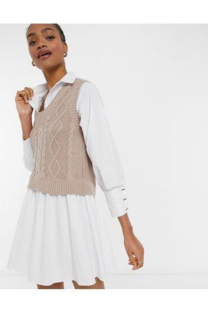 River Island Tabbard knit mini shirt dress in camel